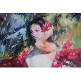Kobieta w ogrodzie (50x60cm)