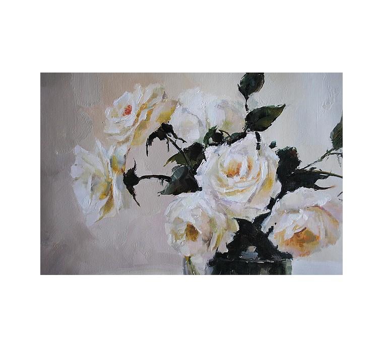 Róże w szklanym wazonie (60x80cm)