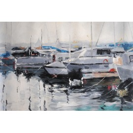 Jachty w porcie (50x100cm)