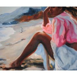 Kobieta, plaża (50x60cm)