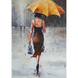 Kobieta z żółtym parasolem (50x70cm)