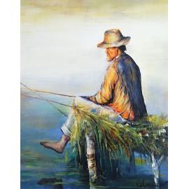 Obraz z rybakiem (40x50cm)