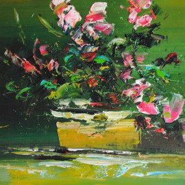 Abstrakcja z kwiatami (50x60cm)