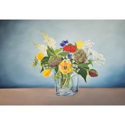Kwiaty w szklanym wazonie...