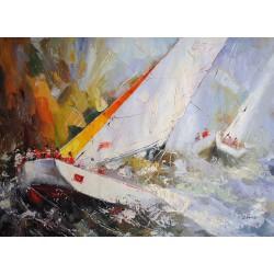 Abstrakcja, morze (70x110cm)