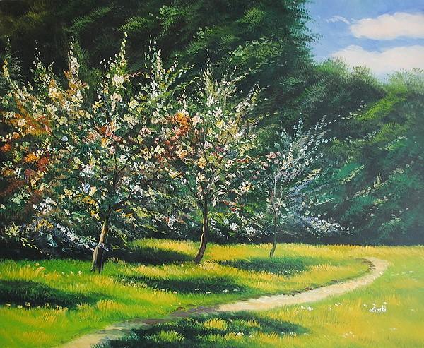 Unikalne Kwitnące jabłonie (50x60cm) - Ręcznie Malowane Obrazy Olejne OW56