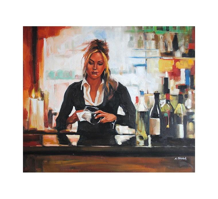 Kobieta w restauracji (50x60cm)